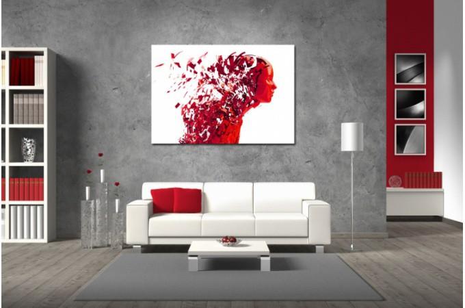 Tableau Abstrait Ton Rouge Femme Destructurée L.80 X H.55 Cm COLOMBAN