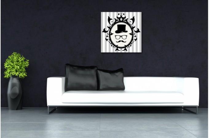 tableau baroque gentleman profil encadr 50x50 cm christelle d co design sur sofactory. Black Bedroom Furniture Sets. Home Design Ideas