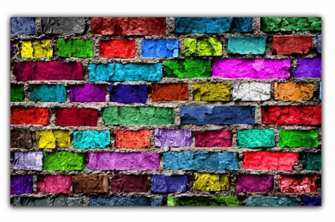 tableau pop art mur de briques multicolore x cm. Black Bedroom Furniture Sets. Home Design Ideas