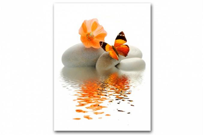 tableau zen papillon orange sur galet x cm anya d co design sur sofactory. Black Bedroom Furniture Sets. Home Design Ideas
