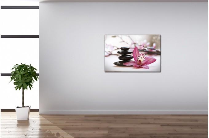 Tableau zen galets en pyramide avec fleur rose x - Tableau rectangulaire zen ...