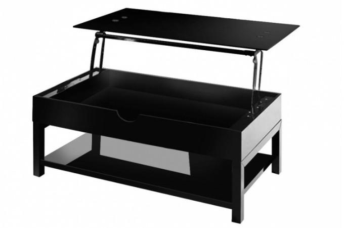 Table basse noire avec plateau relevable birmanie design - Table de salon plateau relevable ...