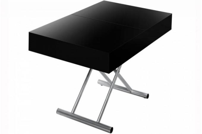 Table Basse Relevable à Rallonge Noir Laqué CIO