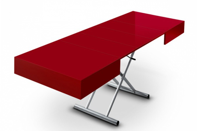 Table basse relevable à rallonge rouge laqué CIO