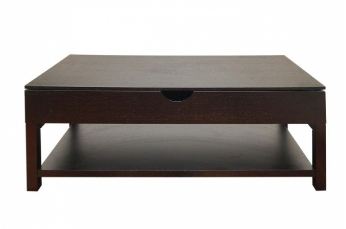 Table basse wengé avec plateau relevable UP
