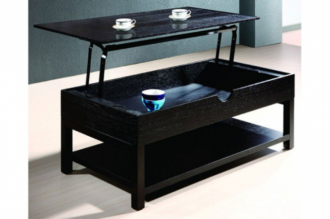 Table basse weng avec plateau relevable up design pas cher sur sofactory - Table basse relevable avec rangement ...