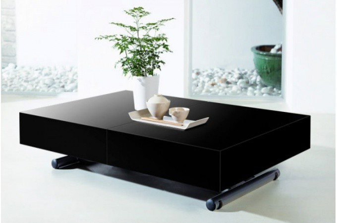 table basse relevable rallonge noir laqu cio design sur. Black Bedroom Furniture Sets. Home Design Ideas