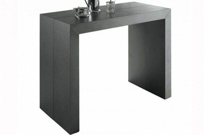 Table console extensible gris satin nika design pas cher for Table console extensible grise
