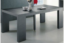 Table Console Extensible Gris Satiné 4 rallonges XL TEO