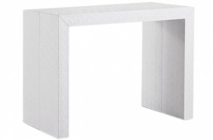 table extensible pas ch re blanche laqu e. Black Bedroom Furniture Sets. Home Design Ideas