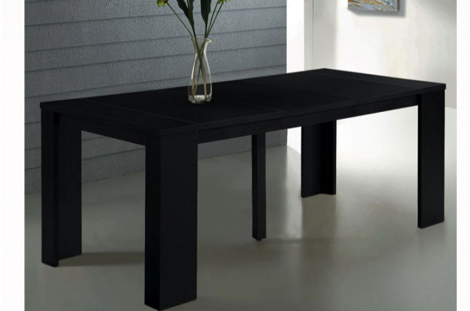 console extensible noire 190cm mat brooklyn design sur. Black Bedroom Furniture Sets. Home Design Ideas
