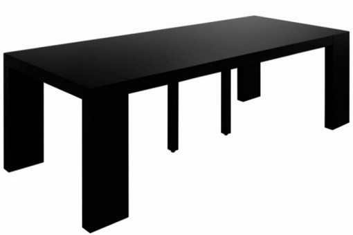 table console extensible noir laqu 4 rallonges xl livo design pas cher sur sofactory. Black Bedroom Furniture Sets. Home Design Ideas