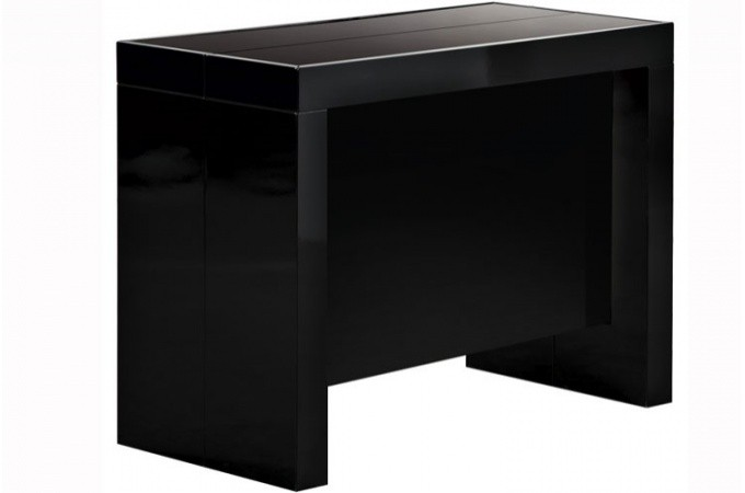 console extensible noire 250cm laque avec rangement lana. Black Bedroom Furniture Sets. Home Design Ideas