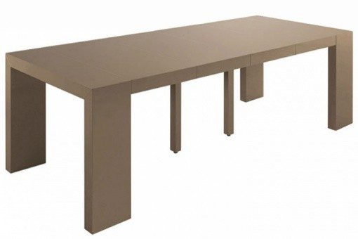 Table console extensible taupe laqué 4 rallonges XL LANA