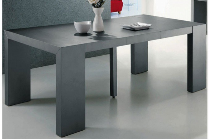table console extensible gris satin nika design pas cher. Black Bedroom Furniture Sets. Home Design Ideas