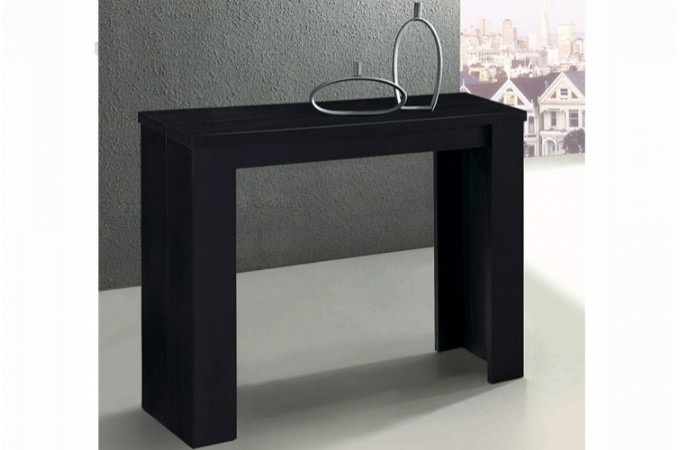 console extensible noire 190cm mat brooklyn design sur sofactory. Black Bedroom Furniture Sets. Home Design Ideas