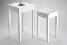 Lot de 2 Tables d'Appoint Blanche Bolivar KOBRI