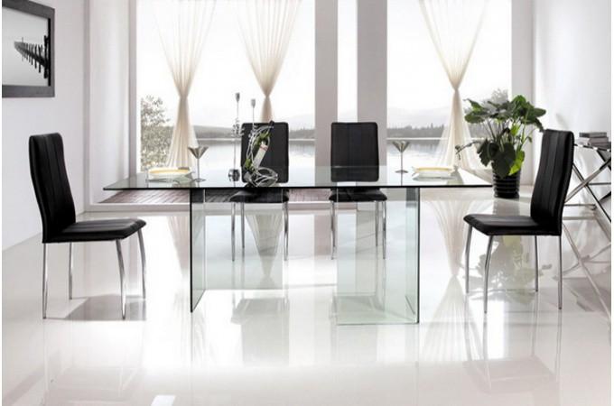 table de repas pieds et plateau en verre idja design sur. Black Bedroom Furniture Sets. Home Design Ideas