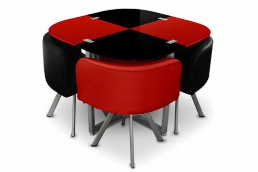 Table repas damier avec 4 chaises rouge et noires ipnoz - Table pliante avec chaises encastrables ...