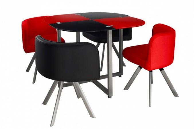 Table Repas Damier avec 4 Chaises Rouge et Noires IPNOZ design sur ...