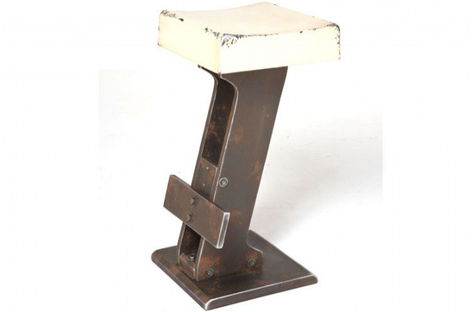 Tabouret de bar style industriel blanc loft design pas - Tabouret de bar style industriel ...