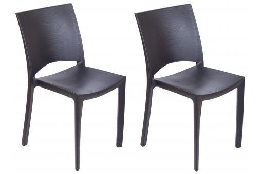 Lot de 2 chaises polypropylène anthracite MILLY