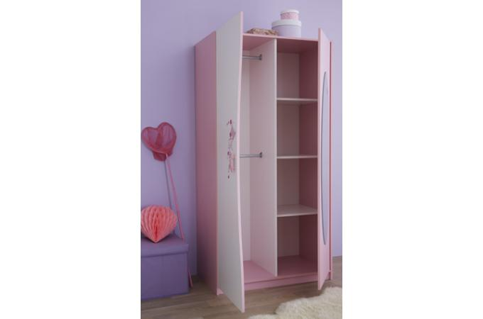 armoire 2 portes avec miroir rose pastel blanc perle piama. Black Bedroom Furniture Sets. Home Design Ideas