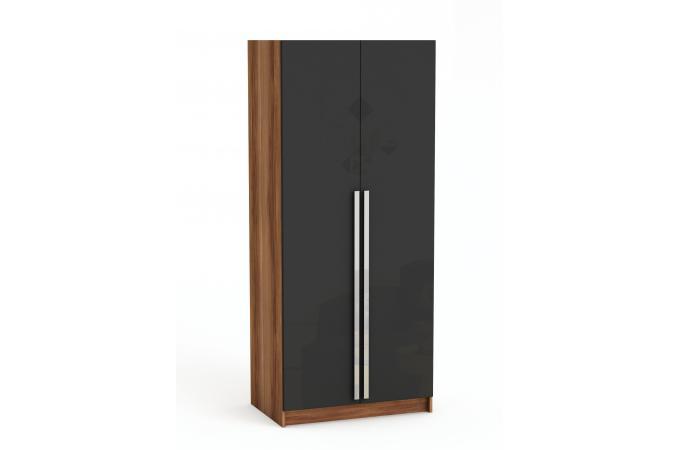 Armoire 2 portes merano et noir iowa design pas cher sur - Armoire noire portes ...