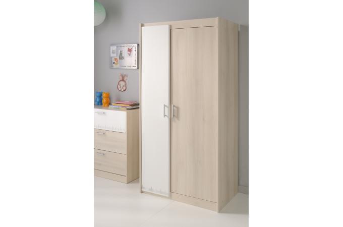 Armoire 2 portes pour chambre enfant acacia clair charles for Armoire pour chambre enfant