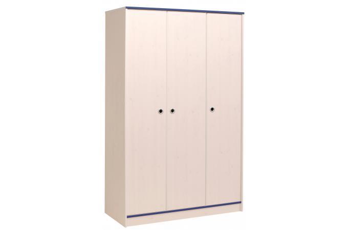 Armoire 3 portes pour chambre enfant en pin rose ou bleu for Armoire pour chambre enfant