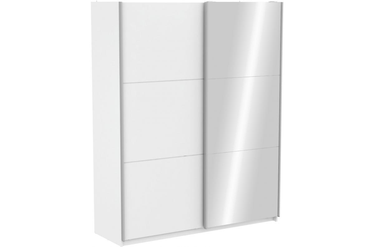 Armoire Avec 1 Porte Coulissante Blanche Et 1 Porte Coulissante Miroir 180cm Scheffer