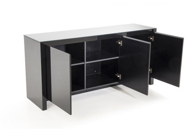 bahut 3 portes laqu verre noir flaska design sur sofactory. Black Bedroom Furniture Sets. Home Design Ideas