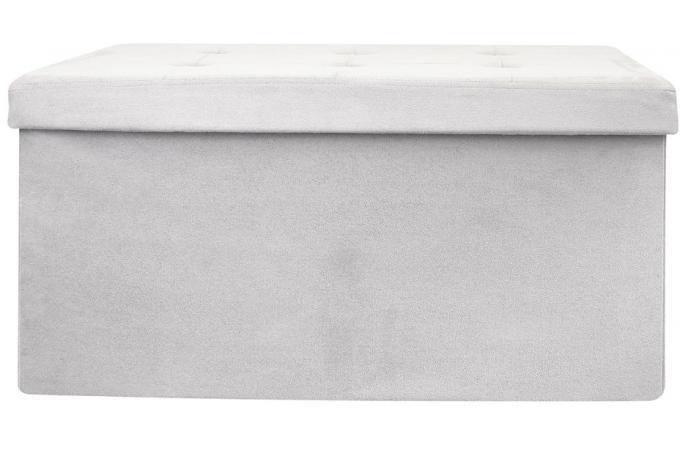 Banc Coffre Pliable Suédine Gris Faloa Design Sur Sofactory