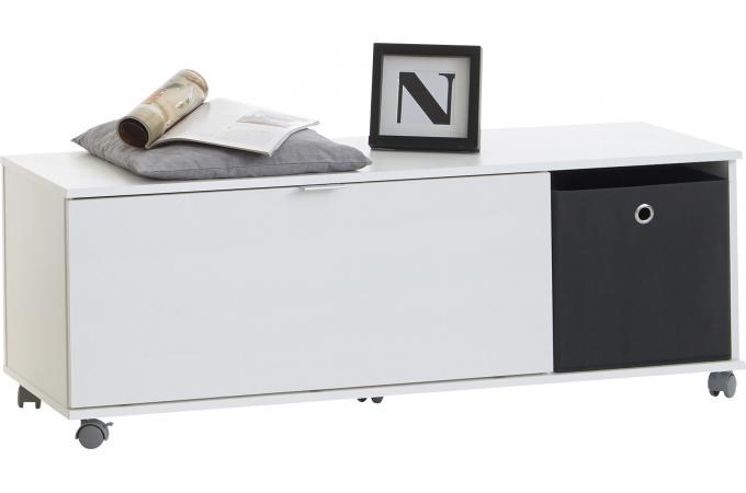 banc de rangement 1 battant sur roulettes solang blanc design pas cher sur sofactory. Black Bedroom Furniture Sets. Home Design Ideas