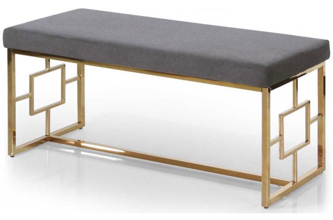Banc Structure Doré Velours Gris Kanel Design Sur Sofactory