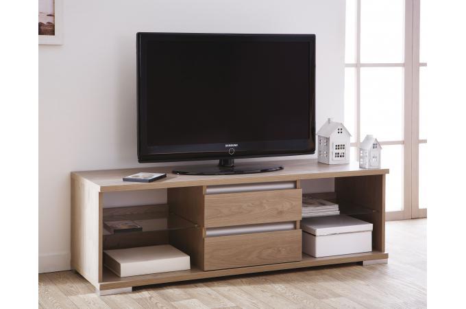 banc tv 2 niches 2 tiroirs gris ch ne dicer design en direct de l 39 usine sur sofactory. Black Bedroom Furniture Sets. Home Design Ideas