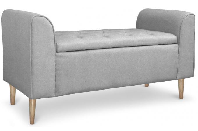 Banquette coffre design tissu gris eleonore design en direct de l 39 usine s - Banquette coffre design ...