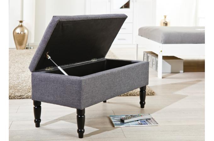 banquette coffre en tissu grise 80 cm jade design sur sofactory. Black Bedroom Furniture Sets. Home Design Ideas