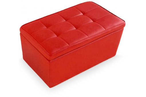 Banquette coffre imitation cuir rouge GAMA