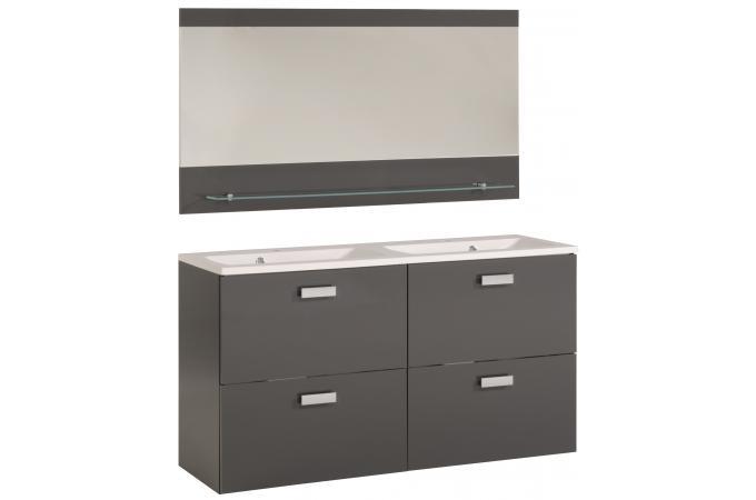 Bloc de salle de bain finition laqu e gris sun 120 cm - Finition de salle de bain ...