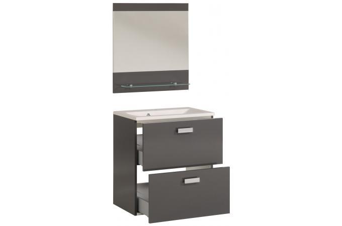 bloc de salle de bain finition laqu e gris sun 65 cm design pas cher sur sofactory. Black Bedroom Furniture Sets. Home Design Ideas