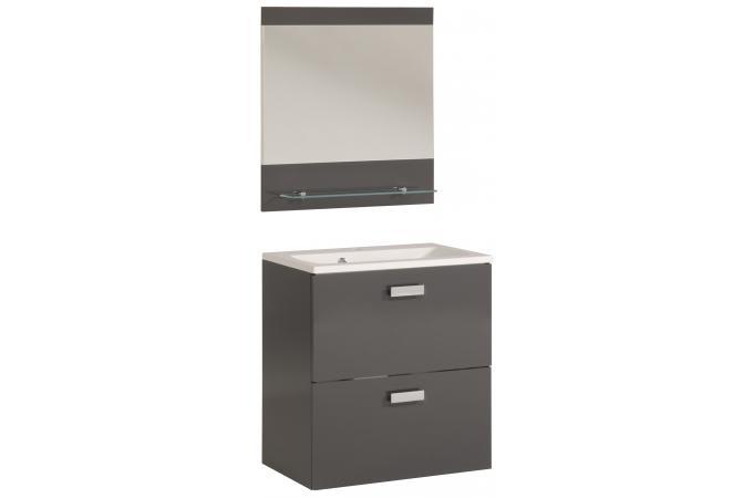 Bloc de salle de bain finition laqu e gris sun 65 cm for Finition de salle de bain