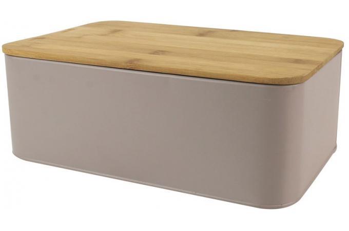 boite a pain avec couvercle en bambou coloris taupe l31cm irmine design sur sofactory. Black Bedroom Furniture Sets. Home Design Ideas