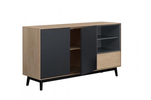 buffet bois noir 2 portes 2 niches 1 tiroir popsy design sur sofactory. Black Bedroom Furniture Sets. Home Design Ideas