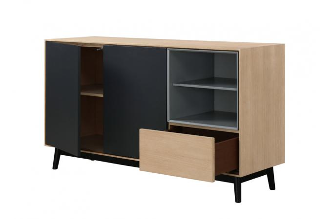buffet bois noir 2 portes 2 niches 1 tiroir popsy design sur sofactory. Black Bedroom Furniture Sets. Home Design Ideas