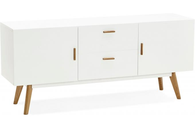 buffet scandinave 2 portes 2 tiroirs blanc gloom - Buffet Scandinave