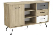 Buffet Scandinave avec 1 Porte 3 Niches et 3 Tiroirs Multicolore ELEOS Sofactory