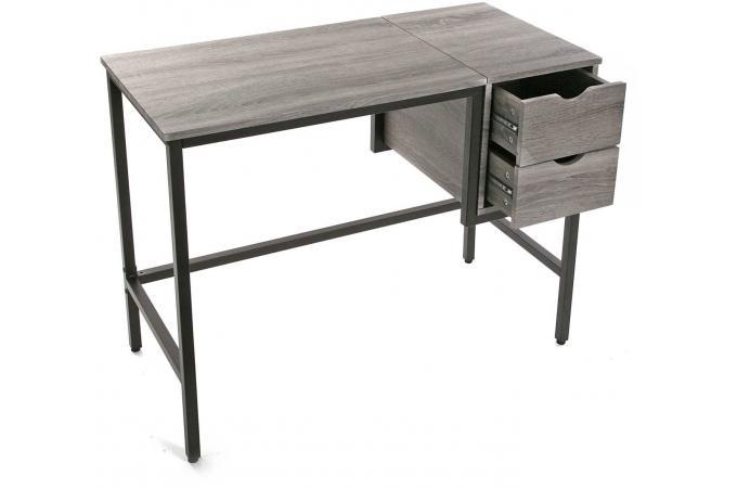 Bureau 2 tiroirs métal et bois kuzu design sur sofactory