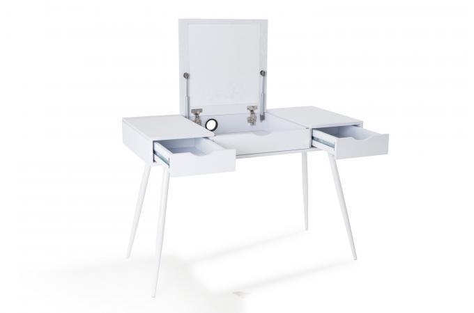 Bureau 3 tiroirs blanc karama design sur sofactory for Bureau romantique blanc