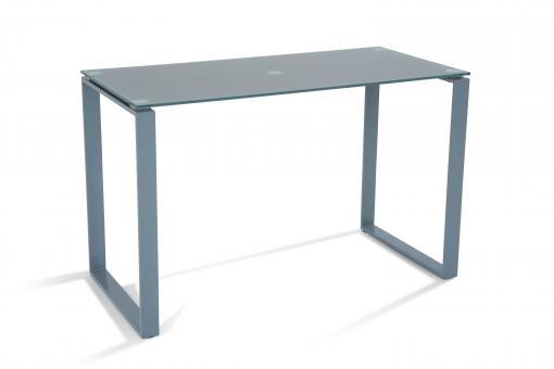 Bureau acier et verre gris 120cm etokia design sur sofactory